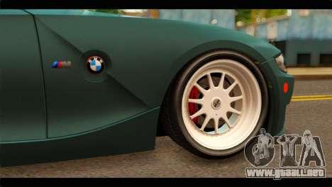 BMW Z4M Coupe para GTA San Andreas vista posterior izquierda