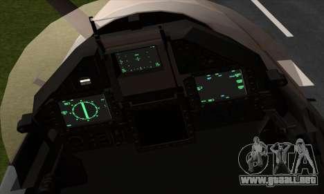 Dassault Mirage 2000-5 ACAH para GTA San Andreas vista hacia atrás