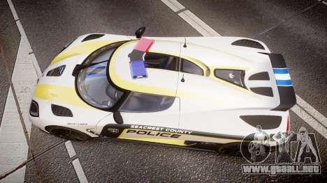 Koenigsegg Agera 2013 Police [EPM] v1.1 PJ1 para GTA 4 visión correcta