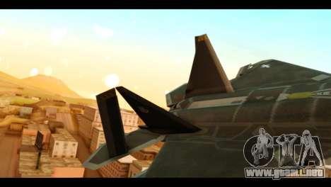 F-22 Raptor Flash para GTA San Andreas vista posterior izquierda