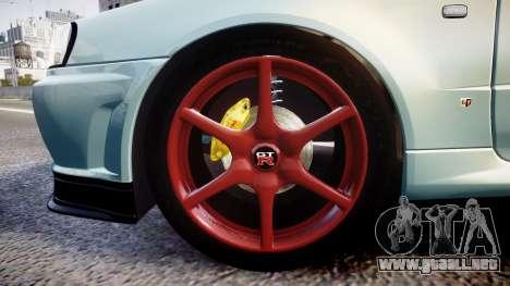 Nissan Skyline R34 GT-R M-Spec Nur para GTA 4 vista hacia atrás