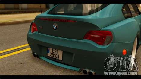 BMW Z4M Coupe para GTA San Andreas vista hacia atrás