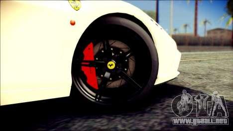 Ferrari 458 Speciale 2015 HQ para GTA San Andreas vista posterior izquierda