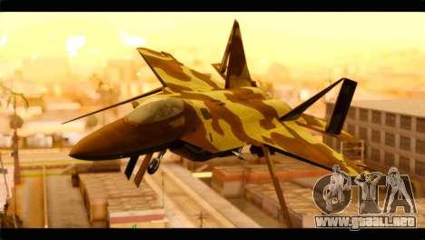F-22 Raptor Desert Camouflage para GTA San Andreas vista hacia atrás