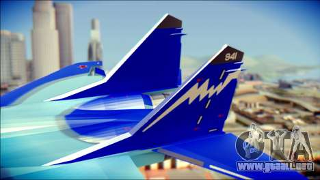 Mikoyan-Gurevich MIG-29K UB 341 Blue para GTA San Andreas vista posterior izquierda