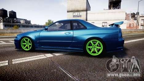 Nissan Skyline BNR34 GT-R V-SPECII 2002 para GTA 4 left