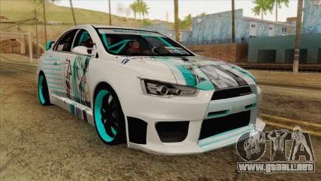Mitsubishi Lancer Miku Hatsu para GTA San Andreas