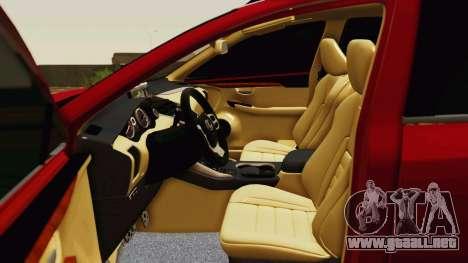 Lexus NX200T v2 para la vista superior GTA San Andreas