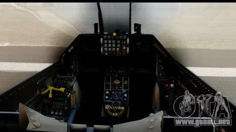 F-16C Polish Air Force Tigers para GTA San Andreas vista hacia atrás