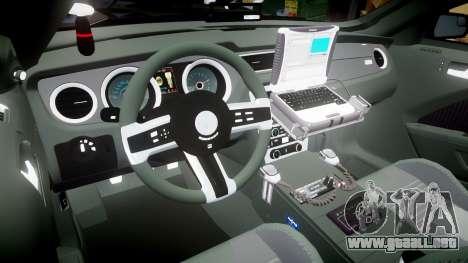 Ford Mustang GT 2015 FBI Unmarked [ELS] para GTA 4 vista hacia atrás
