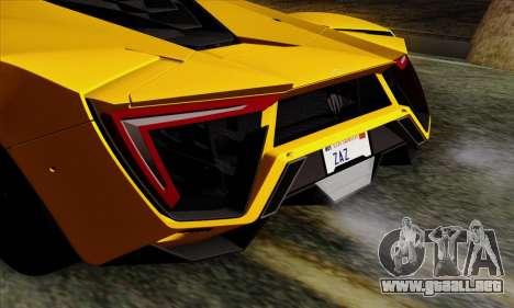 Lykan Hypersport 2014 Livery Pack 2 para GTA San Andreas vista hacia atrás
