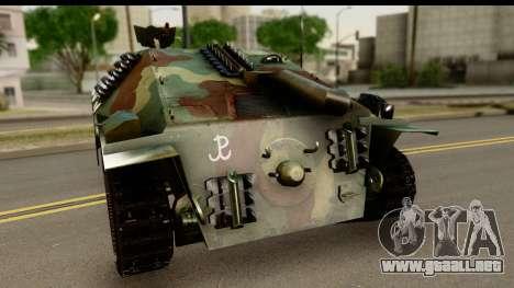 Jagdpanzer 38(t) Hetzer Chwat para GTA San Andreas vista posterior izquierda