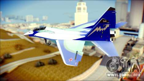Mikoyan-Gurevich MIG-29K UB 341 Blue para GTA San Andreas left