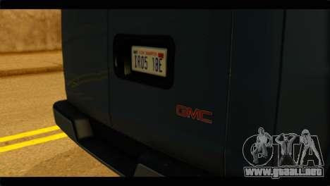 GMC Savana 3500 Passenger 2013 para GTA San Andreas vista hacia atrás