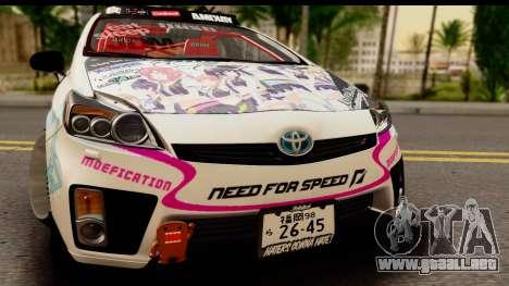 Toyota Prius Hybrid Eri Ayase Love Live Itasha para GTA San Andreas vista posterior izquierda