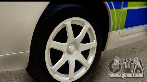Volvo V70 Kent Police para GTA San Andreas vista hacia atrás