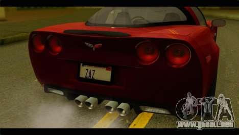 Chevrolet Corvette Grand Sport 2010 para GTA San Andreas vista hacia atrás