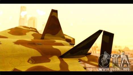 F-22 Raptor Desert Camouflage para GTA San Andreas vista posterior izquierda