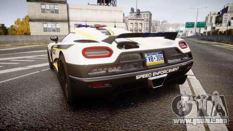 Koenigsegg Agera 2013 Police [EPM] v1.1 PJ1 para GTA 4 Vista posterior izquierda