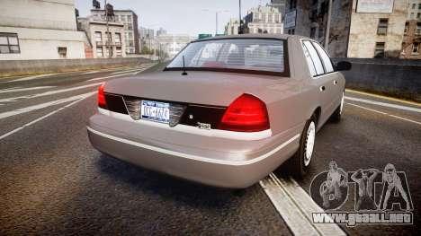 Ford Crown Victoria NYPD Unmarked [ELS] Old para GTA 4 Vista posterior izquierda