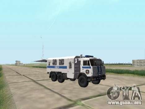 KamAZ-43114 un OMON para GTA San Andreas vista hacia atrás