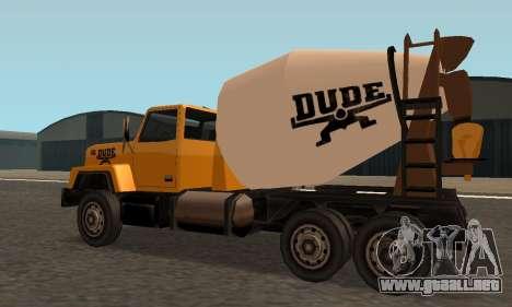 Cement Truck Fixed para GTA San Andreas vista posterior izquierda
