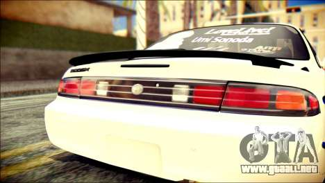 Nissan Silvia S14 Umi Sonoda Paintjob Itasha para GTA San Andreas vista hacia atrás