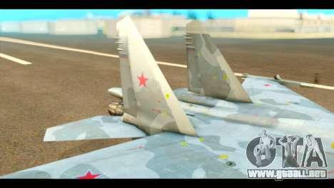 SU-37 Terminator Russian AF Camo para GTA San Andreas vista posterior izquierda