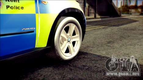 BMW X5 Kent Police RPU para GTA San Andreas vista posterior izquierda