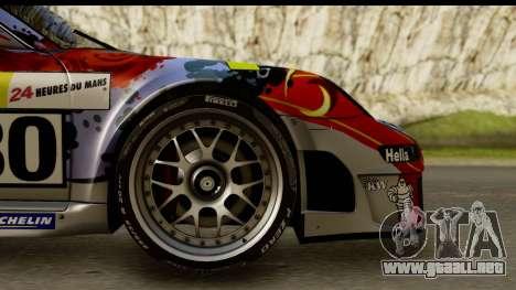 Porsche 911 GT3 RSR 2007 Flying Lizard para GTA San Andreas vista hacia atrás
