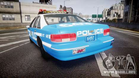 Chevrolet Caprice 1993 LCPD Without Hubcabs ELS para GTA 4 Vista posterior izquierda