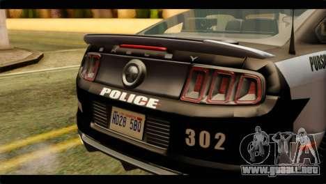 NFS Rivals Ford Shelby GT500 Police para GTA San Andreas vista hacia atrás