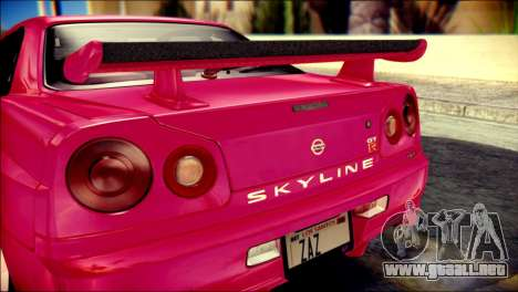Nissan Skyline GTR V Spec II para GTA San Andreas vista hacia atrás