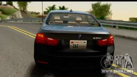 BMW 335i Coupe 2012 para vista lateral GTA San Andreas