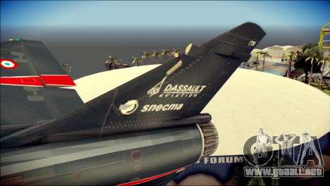 Dassault Mirage 2000-10 Black para GTA San Andreas vista posterior izquierda