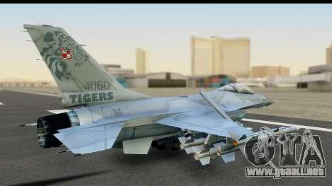 F-16C Polish Air Force Tigers para GTA San Andreas vista posterior izquierda