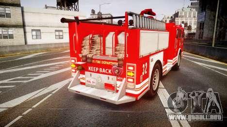 GTA V MTL Firetruck para GTA 4 Vista posterior izquierda