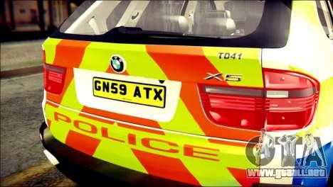 BMW X5 Kent Police RPU para GTA San Andreas vista hacia atrás