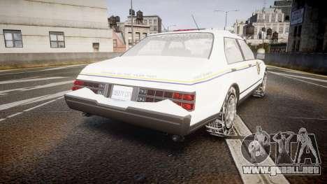 GTA V Albany Police Roadcruiser para GTA 4 Vista posterior izquierda
