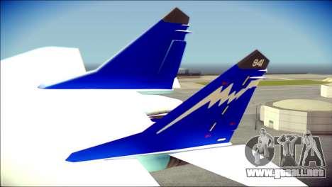 Mikoyan-Gurevich MIG-29K para GTA San Andreas vista posterior izquierda