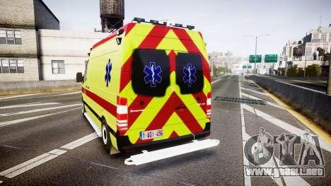 Mercedes-Benz Sprinter 311 cdi Belgian Ambulance para GTA 4 Vista posterior izquierda