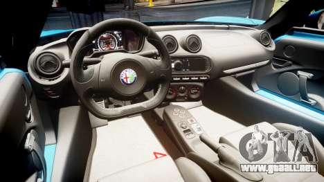 Alfa Romeo 4C 2014 HD Textures para GTA 4 vista hacia atrás