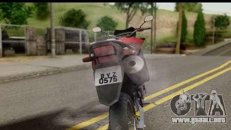 Honda XRE 300 v2.0 para GTA San Andreas vista hacia atrás