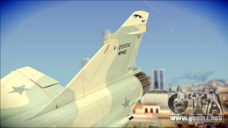 Dassault Mirage 2000-C FAB para GTA San Andreas vista posterior izquierda