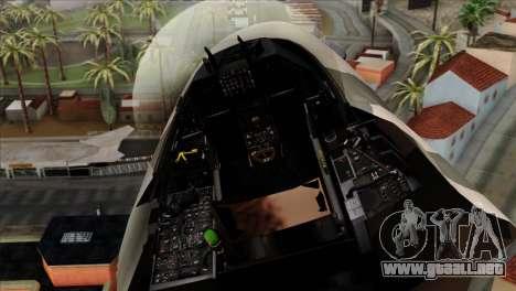 F-16C Top Gun para GTA San Andreas vista hacia atrás