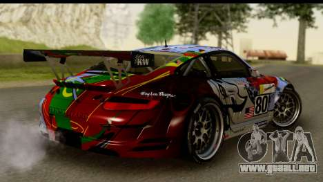 Porsche 911 GT3 RSR 2007 Flying Lizard para GTA San Andreas left