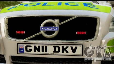 Volvo V70 Kent Police para GTA San Andreas vista posterior izquierda