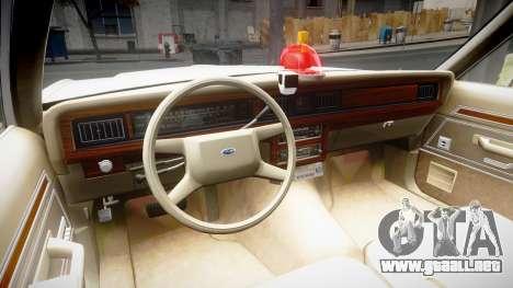Ford LTD Crown Victoria 1987 Detective [ELS] v2 para GTA 4 vista hacia atrás