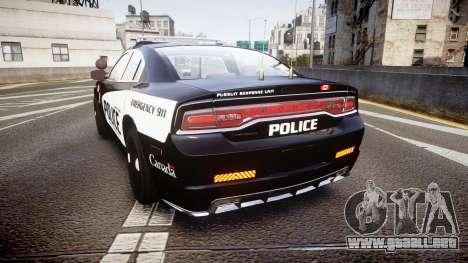 Dodge Charger Alderney Police para GTA 4 Vista posterior izquierda