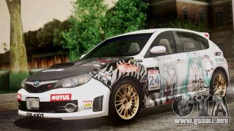 Subaru Impreza WRX STI 2008 PJ para visión interna GTA San Andreas